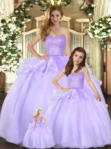 Exceptional Sleeveless Floor Length Beading Lace Up Sweet 16 Quinceanera Dress with Lavender