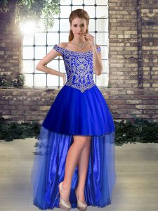 Royal Blue Prom Dresses Prom and Party with Beading Off The Shoulder Sleeveless Lace Up