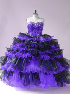 Noble Organza Sweetheart Sleeveless Lace Up Beading and Ruffled Layers Quince Ball Gowns in Black And Purple