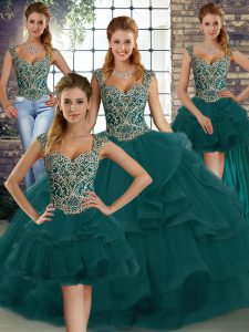 Sleeveless Tulle Floor Length Lace Up Sweet 16 Dress in Peacock Green with Beading and Ruffles