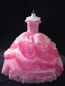 Customized Rose Pink Sleeveless Beading and Sequins Floor Length 15th Birthday Dress