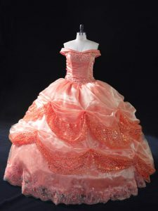 Sleeveless Organza Floor Length Lace Up Sweet 16 Quinceanera Dress in Watermelon Red with Beading and Sequins