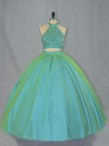 Gorgeous Green Two Pieces Tulle Halter Top Sleeveless Beading Lace Up Vestidos de Quinceanera