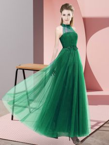 Empire Court Dresses for Sweet 16 Dark Green Halter Top Tulle Sleeveless Floor Length Lace Up