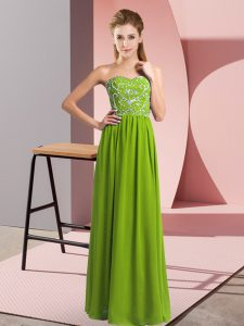 Sleeveless Lace Up Floor Length Beading Evening Dress