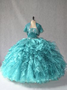 Sleeveless Organza Floor Length Lace Up Vestidos de Quinceanera in Turquoise with Beading