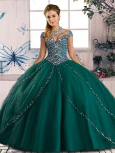 Cute Sweetheart Cap Sleeves Tulle 15 Quinceanera Dress Beading Brush Train Lace Up