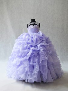 Adorable Lavender Sleeveless Beading and Ruffles and Pick Ups Lace Up Pageant Gowns