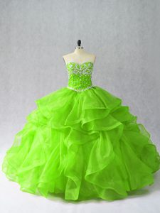 Luxurious Sleeveless Floor Length Beading and Ruffles Lace Up Ball Gown Prom Dress with