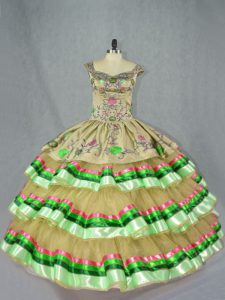 Floor Length Olive Green Quinceanera Dresses Straps Sleeveless Lace Up