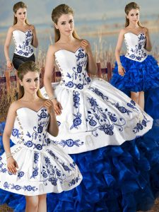 Free and Easy Sweetheart Sleeveless Lace Up Vestidos de Quinceanera Blue And White Satin and Organza
