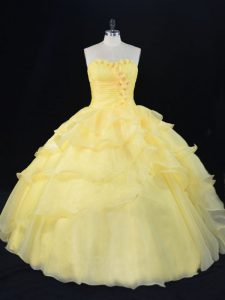 Yellow Organza Lace Up Sweetheart Sleeveless Floor Length Sweet 16 Dresses Hand Made Flower