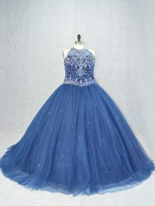 Navy Blue Ball Gowns Beading Sweet 16 Quinceanera Dress Lace Up Tulle Sleeveless
