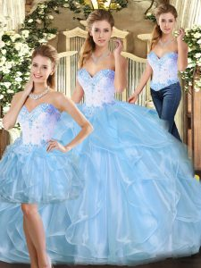 Dazzling Beading and Ruffles Quinceanera Gown Blue Lace Up Sleeveless Floor Length