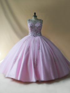 Comfortable Baby Pink Ball Gowns Tulle Scoop Sleeveless Beading Floor Length Lace Up Quinceanera Gown