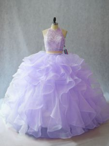 Backless Sweet 16 Dress Lavender for Sweet 16 and Quinceanera with Beading and Ruffles Brush Train