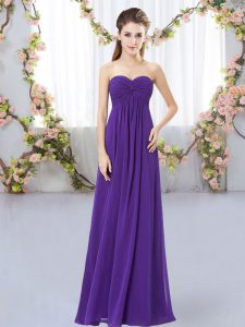 Extravagant Purple Sweetheart Neckline Ruching Court Dresses for Sweet 16 Sleeveless Zipper