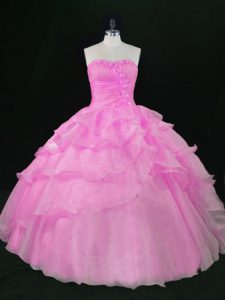Flare Sweetheart Sleeveless Lace Up Quince Ball Gowns Lilac Organza