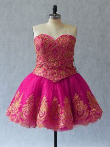 Adorable Fuchsia Tulle Lace Up Evening Dress Sleeveless Mini Length Appliques and Embroidery