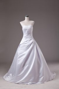 Stylish Beading Wedding Dresses White Lace Up Sleeveless Brush Train