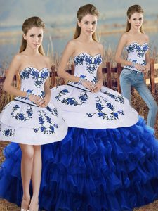 Inexpensive Floor Length Three Pieces Sleeveless Royal Blue 15th Birthday Dress Lace Up