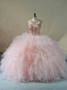 Glorious Pink Lace Up 15th Birthday Dress Beading and Ruffles Sleeveless Brush Train