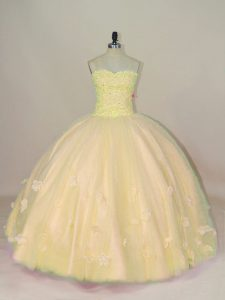 Sweetheart Sleeveless Tulle Quinceanera Dress Beading and Hand Made Flower Lace Up
