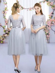 Grey Tulle Lace Up Dama Dress for Quinceanera Half Sleeves Tea Length Lace and Belt