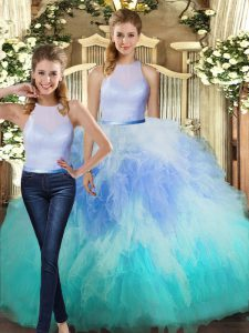 Chic Multi-color Tulle Backless 15 Quinceanera Dress Sleeveless Floor Length Ruffles