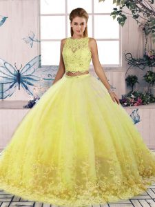 Scalloped Sleeveless Sweep Train Backless Sweet 16 Dresses Yellow Tulle