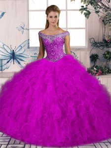 Sophisticated Sleeveless Beading and Ruffles Lace Up Quinceanera Dress with Fuchsia Brush Train