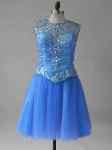 Tulle Sleeveless Mini Length Prom Dresses and Beading and Sequins