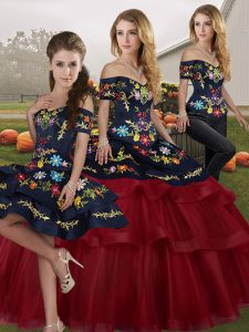 Classical Lace Up Sweet 16 Dresses Wine Red for Military Ball and Sweet 16 and Quinceanera with Embroidery and Ruffled Layers Brush Train
