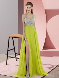 Amazing Empire Sleeveless Yellow Green Prom Gown Sweep Train Zipper