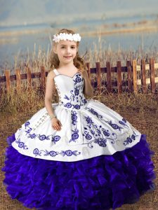 Purple Sleeveless Organza Lace Up Pageant Dress for Wedding Party