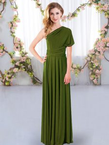 Vintage Sleeveless Chiffon Floor Length Criss Cross Court Dresses for Sweet 16 in Olive Green with Ruching