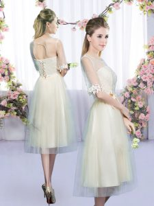 Most Popular Half Sleeves Lace and Bowknot Lace Up Wedding Guest Dresses