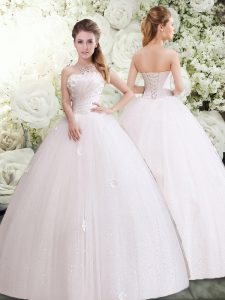 Shining Floor Length Lace Up Wedding Dresses White for Wedding Party with Appliques and Ruching