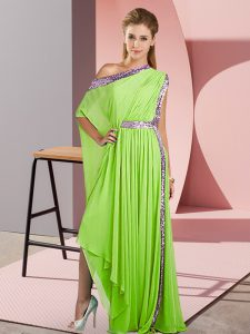 Yellow Green Sleeveless Sequins Asymmetrical Evening Dress