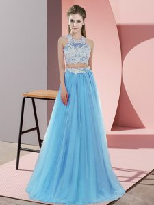 Custom Fit Baby Blue Two Pieces Tulle Halter Top Sleeveless Lace Floor Length Zipper Damas Dress