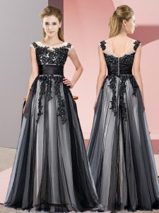 Enchanting Scoop Sleeveless Zipper Quinceanera Dama Dress Black Tulle
