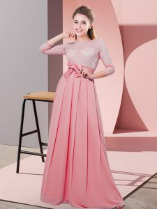 High End Watermelon Red Chiffon Side Zipper Scoop 3 4 Length Sleeve Floor Length Damas Dress Lace and Belt