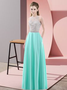 Custom Designed Apple Green Empire Beading Formal Evening Gowns Backless Satin Sleeveless Floor Length