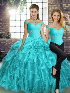 Aqua Blue Two Pieces Beading and Ruffles Sweet 16 Dresses Lace Up Organza Sleeveless