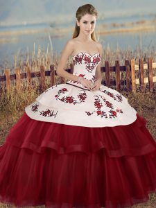 Super White And Red Quinceanera Gown Military Ball and Sweet 16 and Quinceanera with Embroidery and Bowknot Sweetheart Sleeveless Lace Up
