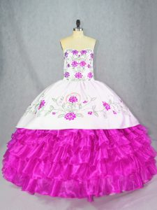 Simple Fuchsia Sweetheart Neckline Embroidery and Ruffled Layers Quinceanera Dress Sleeveless Lace Up