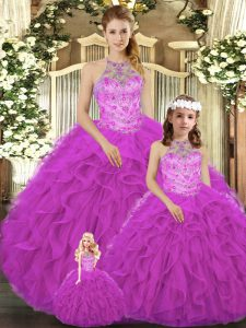 Fabulous Halter Top Sleeveless Lace Up 15 Quinceanera Dress Fuchsia Tulle