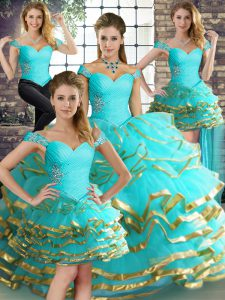 Clearance Sleeveless Beading and Ruffled Layers Lace Up 15th Birthday Dress