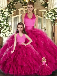 Fabulous Ball Gowns Quinceanera Gowns Fuchsia Halter Top Tulle Sleeveless Floor Length Lace Up