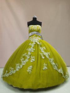Stylish Floor Length Ball Gowns Sleeveless Olive Green Sweet 16 Dress Lace Up